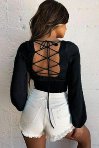 back lace-up low cut slim crop top