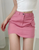 solid color irregular clipping high waisted short denim skirt