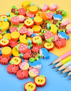 mini cartoon colorful barrel eraser set