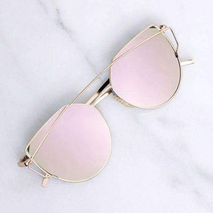 Metallic Frame Mirrored Sunglasses