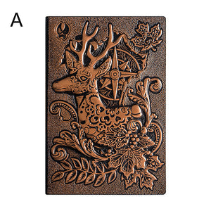 embossed design retro art cover leather notebook