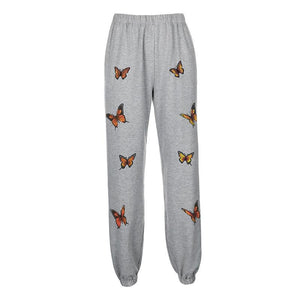 butterfly printed high waisted jogger hip-hop pants sweat pants