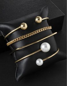 simple geometry pearls decoration 4-pieces bracelet set