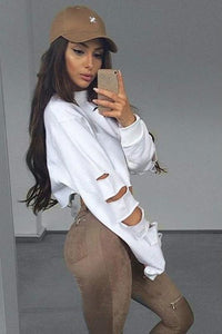 solid color oversized ripped cropped sweatshirt
