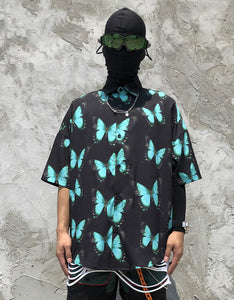full butterfly printed short sleeved loose shirt