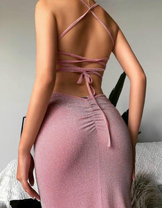 glitter strappy back lace-up side slit slim long dress