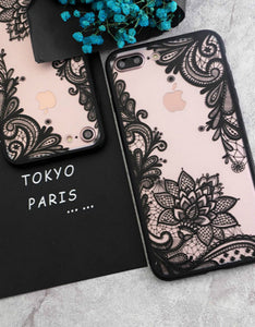 sexy lace flower back cover phone case