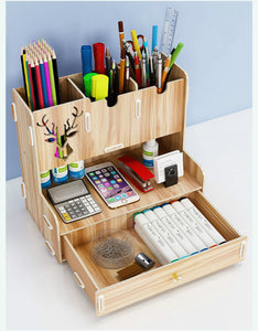 DIY Nordic style wood pencil holder desktop decoration