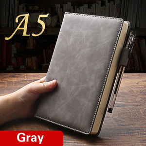 A5  thicken waxy feeling leather notebook