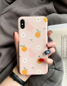 simple little flowers printed soft cover phone case