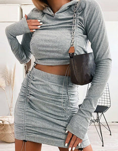 double side drawstring solid color hooded sweatshirt slim skirt leisure women set