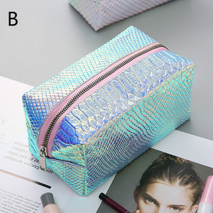 laser dazzling waterproof zipper cosmetic bag