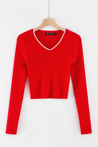 contrast color v neck cropped knitted slim top sweater
