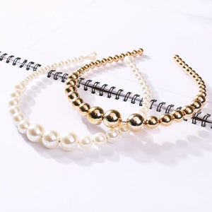 solid color pearls hair band headwear