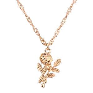 Rose Pendants Multi-layer Diamond Chain Necklace Set
