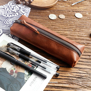 vintage leather handmade glasses bag pencil case
