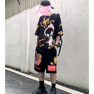 men's cartoon printed t-shirt and shorts set