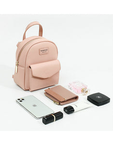 cute solid color PU girl backpack bag