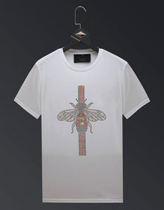 butterfly design rhinestone men summer t-shirt