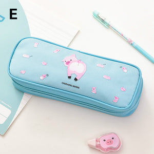 high-capacity girls canvas pencil case