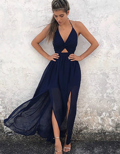 halter neck hollow out side slit chiffon long dress