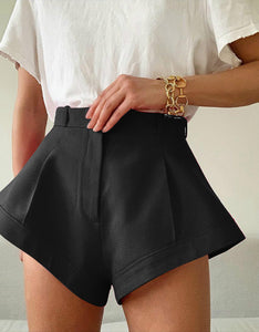 solid color high waisted wide-leg shorts