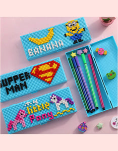 cartoon particles building blocks pencil case