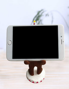 cartoon christmas bear mobile phone stand desktop decoration