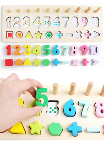 wooden montessori count geometric shape cognition match educational toys