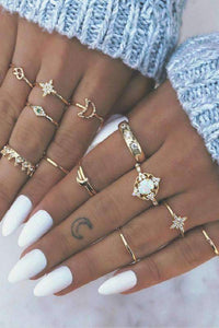retro stars and moon joint rings set
