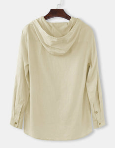hooded linen men's v-neck long sleeve t-shirt