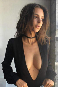 Sexy Deep V Neck Bodysuit Top