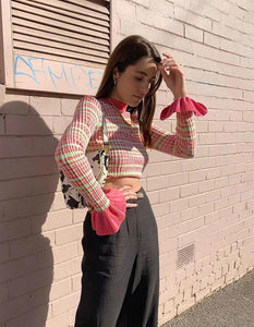 cute colorful plaid printed slim crop top