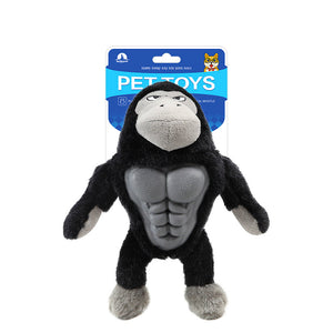 funny barrel-chested plush animals chew squeak pet toys