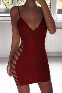 Glitter Side Hollow Out Strappy Dress