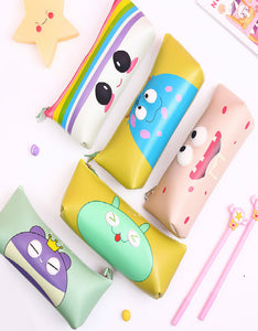 cartoon pu cute eye pencil case