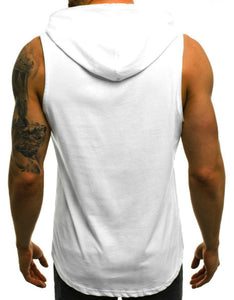 number printed sleeveless hoodie t-shirt