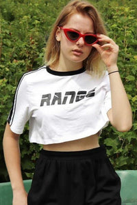 RANGE Print Stripes Patch Casual Cropped T-shirt