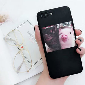 lovely pigs printed couple phone cases