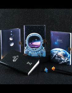 outer space universe vintage lock leather notebook