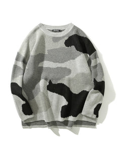 fashion camouflage pattern oversize o neck casual sweater