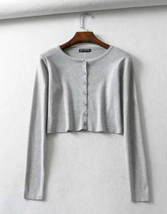 solid solor one-line buttons knitted top cardigan