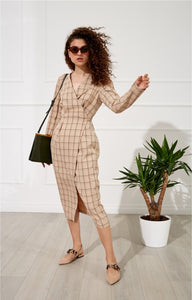 long sleeved plaid deep v bandaged midi dress