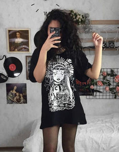 witch printed short sleeved loose t-shirt dress
