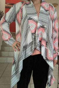 Aztec Print Irregular Cotton Cardigan