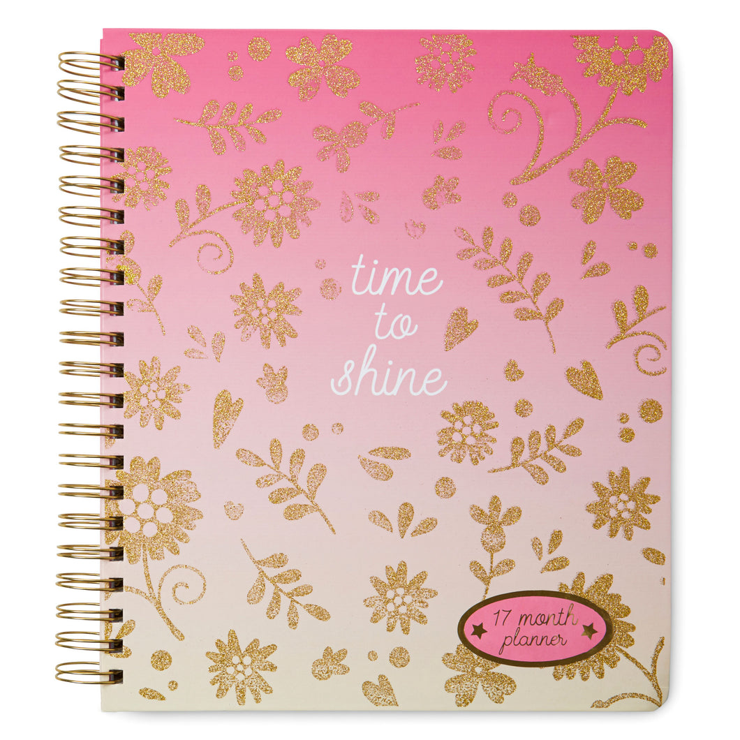 Large Spiral Agenda 2019-2020 17 Month Planner - Time To Shine