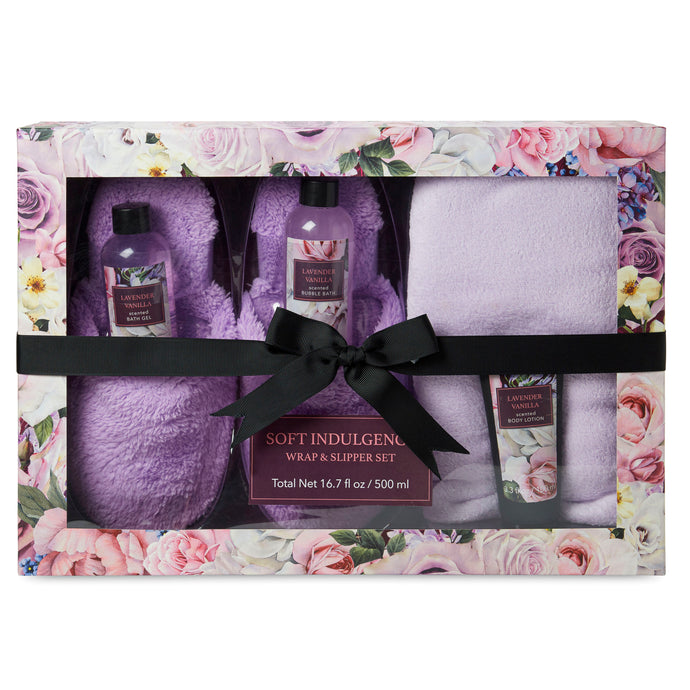 Slipper and Wrap Set with Lotions - Lavender Vanilla