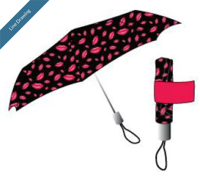 Umbrella with Band Kiss Print