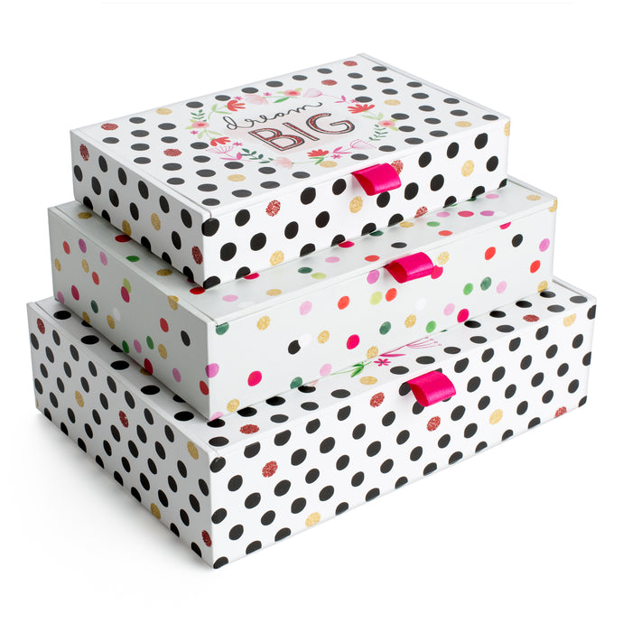 Circus Set of 3 Small Ribbon Tab Boxes
