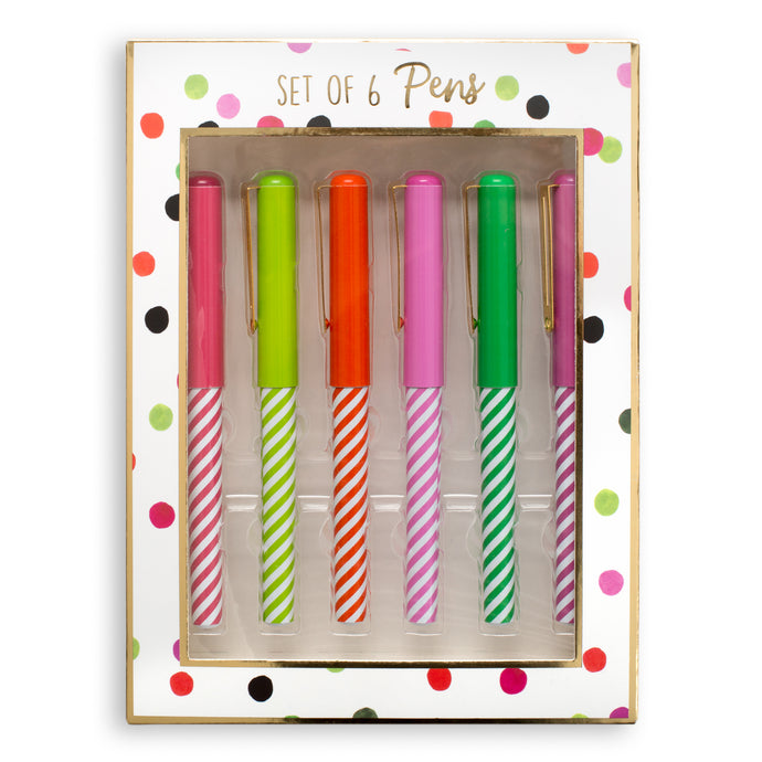 Circus Stripe Set of 6 Pens